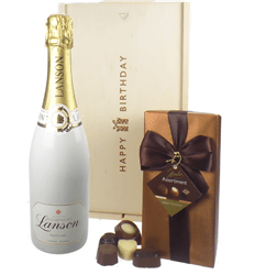 Lanson White Label Champagne and Chocolates Birthday Gift Box