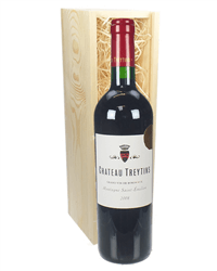 French Bordeaux Red Wine Gift in Wooden Box