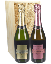 Chandon Sparkling Two Bottle Wine Gift in Wooden Box