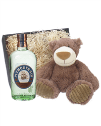 Plymouth Gin And Teddy Bear Gift Basket