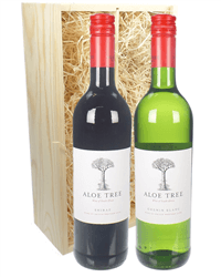 South African Mixed Two Bottle Wine Gift in Wooden Box