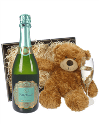 Cava And Teddy Bear Gift Basket