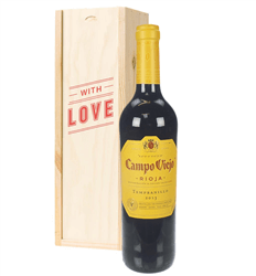 Rioja Tempranillo Red Wine Valentines With Love Special Gift Box