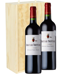 Bordeaux Two Bottle Wine Gift in Wooden Box