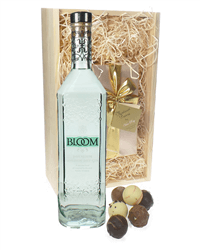 Bloom Gin And Chocolates Gift Set in Wooden Box
