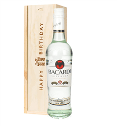Bacardi Rum Birthday Gift In Wooden Box