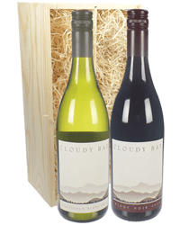 Cloudy Bay Sauvignon Blanc And Pinot Noir Two Bottle Wine Gift in Wooden Box
