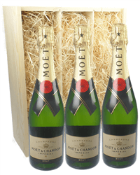 Moet & Chandon NV Three Bottle Champagne Gift in Wooden Box