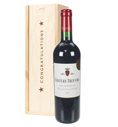 French Bordeaux Red Wine Congratulations Gift In Wooden Box