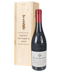 Chateauneuf Du Pape Red Wine Fathers Day Gift In Wooden Box