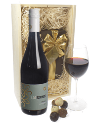 Merlot Red Wine and Chocolates Gift Set in Wooden Box