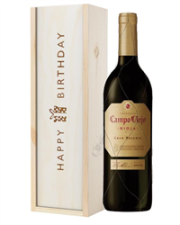 Campo Viejo Gran Reserva Red Wine Birthday Gift In Wooden Box