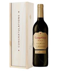 Campo Viejo Gran Reserva Red Wine Congratulations Gift In Wooden Box