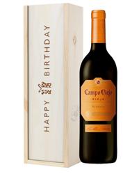 Campo Viejo Reserva Red Wine Birthday Gift In Wooden Box