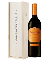 Campo Viejo Reserva Red Wine Congratulations Gift In Wooden Box