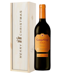 Campo Viejo Reserva Red Wine Single Bottle Christmas Gift In Wooden Box