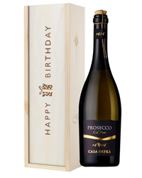 Casa Defra Prosecco Frizzante Birthday Gift In Wooden Box