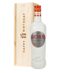 Archers Peach Schnapps Birthday Gift In Wooden Box