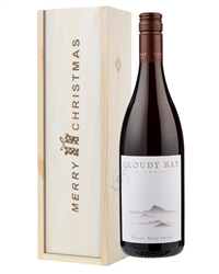 Cloudy Bay Pinot Noir Red Wine Single Bottle Christmas Gift In Wooden Box