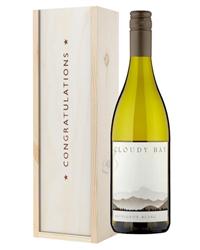 Cloudy Bay Sauvignon Blanc White Wine Congratulations Gift In Wooden Box