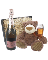Moet & Chandon Rose Champagne and Teddy Bear Gift Basket