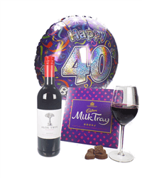 Red Wine And Chocolates 40th Birthday Gift