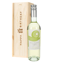 Pinot Grigio White Wine Birthday Gift In Wooden Box