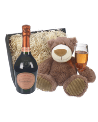 Laurent Perrier Rose Champagne and Teddy Bear Gift Basket