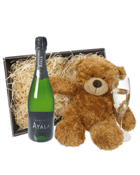 Ayala Champagne and Teddy Bear Gift Basket