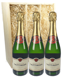 Taittinger Three Bottle Champagne Gift in Wooden Box