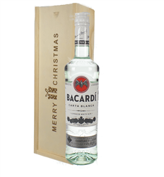 Bacardi Rum Christmas Gift In Wooden Box