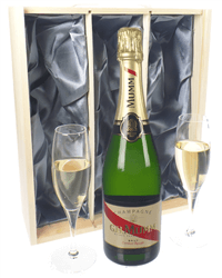 Mumm Cordon Rouge Champagne Gift Set With Flute Glasses