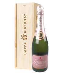 Lanson Rose Champagne Birthday Gift In Wooden Box