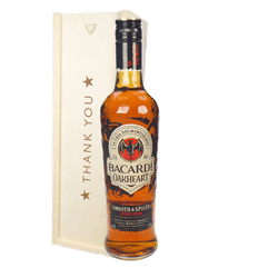 Bacardi Oakheart Rum Thank You Gift In Wooden Box