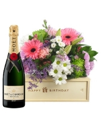 Champagne And Flowers Birthday Gift