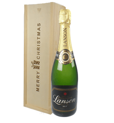Lanson Champagne Single Bottle Christmas Gift in Wooden Box