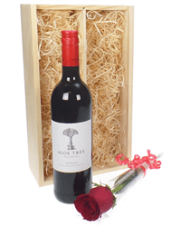 Red Wine And Rose Valentines Gift