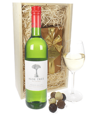 South African White Wine and Chocolates Gift Set in Wooden Box
