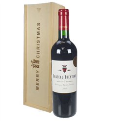 French Bordeaux Red Wine Single Bottle Christmas Gift In Wooden Box