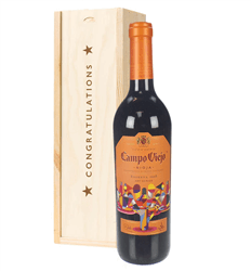 Campo Viejo Reserva Red Wine Congratulations Gift In Wooden Box