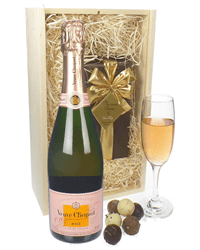Veuve Clicquot Rose Champagne & Belgian Chocolates Gift Box