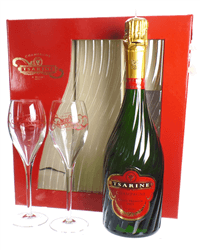 Tsarine Champagne Gift Set With Flute Glasses