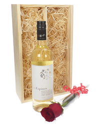White Wine And Red Rose Valentines Gift