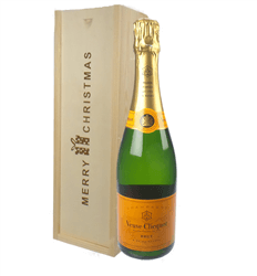 Veuve Clicquot Champagne Single Bottle Christmas Gift In Wooden Box