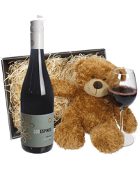Chilean Merlot Red Wine and Teddy Bear Gift Basket
