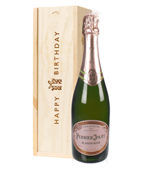 Perrier Jouet Rose Champagne Birthday Gift In Wooden Box