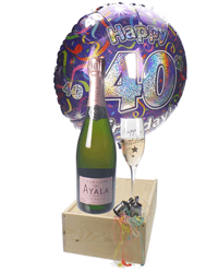 40TH BIRTHDAY ROSE CHAMPAGNE FLUTE GIFT