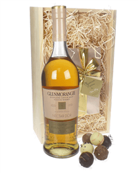 Glenmorangie Nectar Dor andChocolates Gift Set in Wooden Box