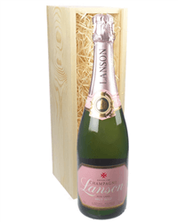 Lanson Rose Champagne Gift in Wooden Box