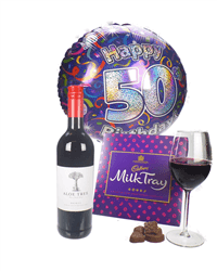 Red Wine And Chocolates 50th Birthday Gift